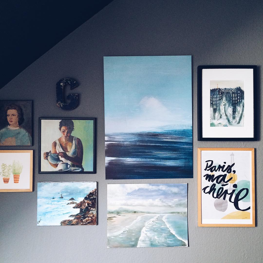 Refreshing the gallery wall with more seaside blue I hopehellip