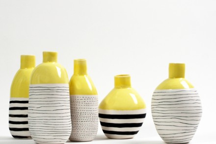 Eric-Hibelot-set-of-bottles-exhibiting-at-Ceramic-Art-London-4-6-April-2014
