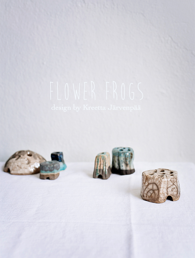 Flower Frogs, ceramics, handmade, Kreetta Järvenpää, Finnish designer, photographer, flowers, flower arrangement