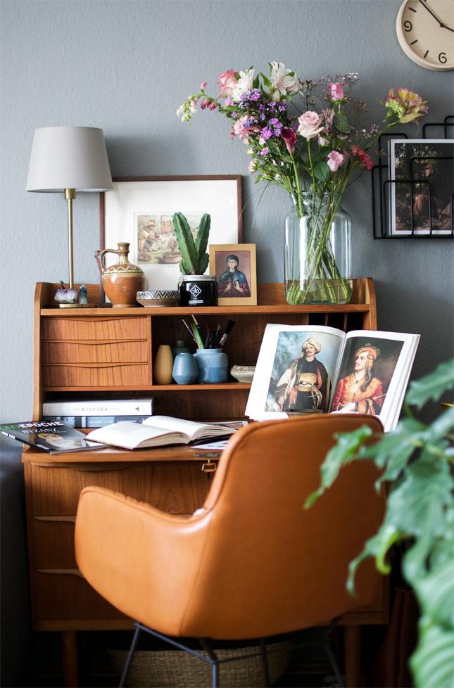 home office, vintage, bureau, mid-century, boho, bohemian, oriental